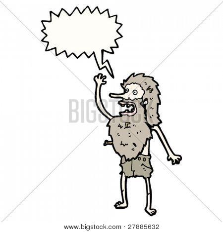 cartoon shipwrecked man shouting