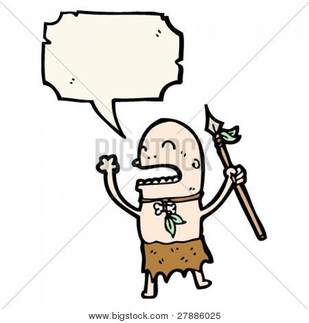 cartoon tribesman with spear