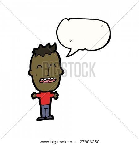 cartoon big head boy with speech bubble
