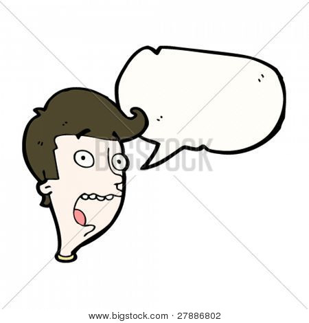 cartoon frightened man's face with speech bubble
