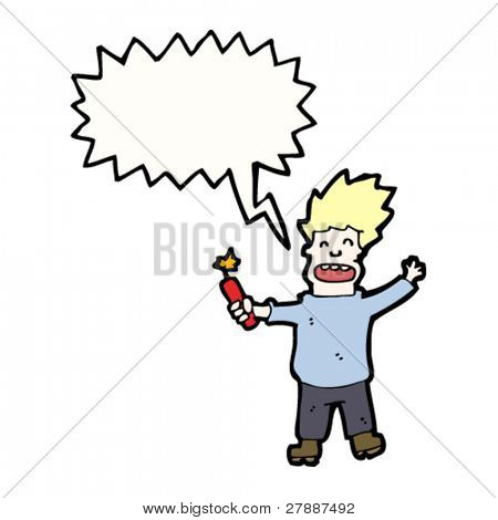 cartoon man with stick of dynamite,