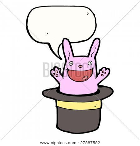 cartoon rabbit in magician's hat