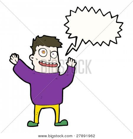 cartoon crazy man waving arms