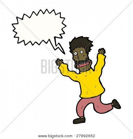 cartoon mustache man running and shouting
