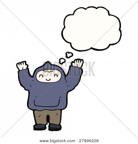 cartoon man in hooded top with thought bubble waving hands above head