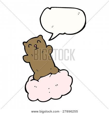 cute Cartoon Teddy Bear schwimmt auf Wolke
