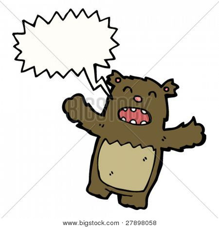 little cartoon bear roaring