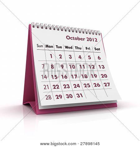 2012 calendar. October