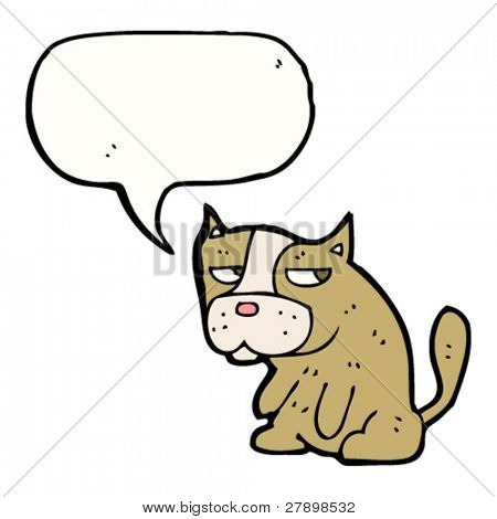 cartoon grumpy dog with speech bubble