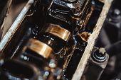 Maintenance Of Car Engine Valves In Engine Oil poster