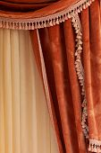 Velvet Curtain Grape Color Hanging In The Bedroom. poster