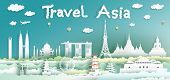 Landmarks Of The World With City And Tourism Asia Background, Travel Around The World To Japan, Chin poster