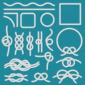 Marine Rope Knot. Ropes Frames, Cordage Knots And Decorative Cord Divider Isolated Vector Set poster