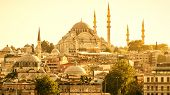 Istanbul Cityscape In Sunlight, Turkey. Panorama Of Old Istanbul With Suleymaniye Mosque. Sunny View poster