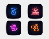 Neon Glow Lights. Set Of Typewriter, Best Rank And Cashback Card Icons. Person Talk Sign. Inspiratio poster
