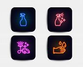 Neon Glow Lights. Set Of Spray, Vacuum Cleaner And Washing Cleanser Icons. Rubber Gloves Sign. Washi poster