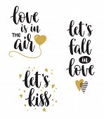 Set Of Hand Calligraphy Phrases For Valentines Day And Romantic Design. Love Is In The Air, Lets Kis poster