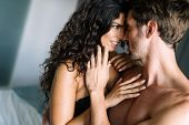Sensual Beautiful Couple In Loving Relationship During Sexual Foreplay poster