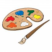 Palette With Paints Hand Drawn. Vector Illustration Palette With Paints And Brush. Paint Brush With  poster