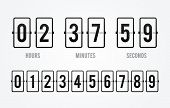 Vector Flip Board Countdown Clock Counter Timer. Scoreboard Of Hour, Minutes And Seconds For Web Pag poster