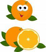Orange Whole And Slice Of Orange With Orange Leaves. Raster Illustration Of Oranges. Adorable Orange poster