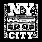 Street Style Black White Print With Big Boombox For Hip Hop Or Rap Music With Nyc Type. For Fashion  poster