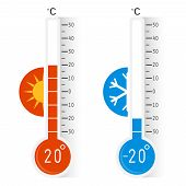 Celsius Meteorology Thermometers Measuring Heat And Cold, Vector Illustration. Thermometer. Hot, Col poster
