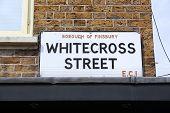 Whitecross Street - Sign In Borough Of Islington, London, Uk. poster