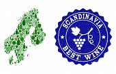 Vector Collage Of Wine Map Of Scandinavia And Best Grape Wine Grunge Stamp. Map Of Scandinavia Colla poster