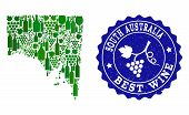 Vector Collage Of Wine Map Of South Australia And Best Grape Wine Grunge Seal Stamp. Map Of South Au poster