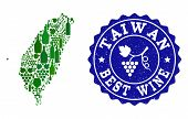 Vector Collage Of Wine Map Of Taiwan And Best Grape Wine Grunge Seal Stamp. Map Of Taiwan Collage Cr poster