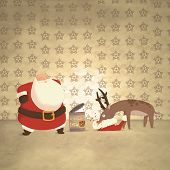 stock photo of rudolf  - Santa and a hungry reindeer  - JPG