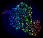 Bright Mesh Vector Map Of Rondonia State With Glare Effect. Light Spots Have Bright Spectrum Colors. poster