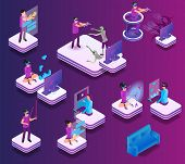 Isometric Gaming Experience In Virtual Reality. Vector Set Illustration Online Communication Friend, poster