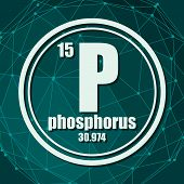 Phosphorus Chemical Element. Sign With Atomic Number And Atomic Weight. Chemical Element Of Periodic poster