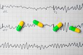 Multi-colored Tablets On A Sheet Of Electrocardiogram poster
