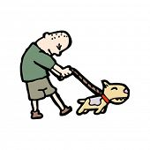 picture of skinhead  - man walking dog cartoon - JPG