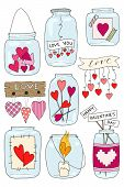 Set Of Hand Drawn Vector Illustration Of A Mason Jar With Hearts And Inscriptions Love You, Candle,  poster