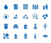 Water Drop Flat Glyph Icons Set. Aqua Filter, Softener, Ionization, Disinfection, Glass Vector Illus poster