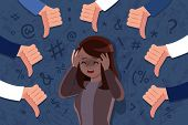 Scared And Upset Woman Be Bullied On Dark Background poster