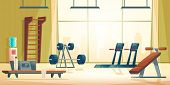 Modern Sport Club Gym Cartoon Vector Interior With Treadmill, Abdominal Bench, Barbell And Dumbbell  poster