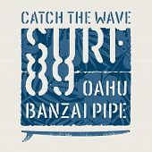 Surfing Hawaii T Shirt Design. Surfing Artwork. Vintage Graphic Tee. Vectors poster