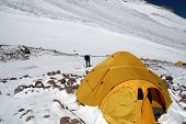 pic of aconcagua  - Aconcagua water source through frozen ice at Camp Two - JPG