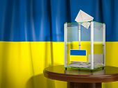 Ballot box with flag of Ukraine and voting papers. Ukrainian presidential or parliamentary election. poster