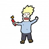 stock photo of madman  - cartoon madman with stick of dynamite - JPG