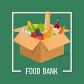 Food Bank Simple Concept Illustration. Time To Donate. Food Donation. Boxes Full Of Food. Vector Con poster
