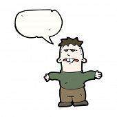 stock photo of buck teeth  - cartoon ugly kid with speech bubble - JPG