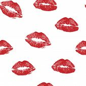 Vector Woman Red Lipstick Kiss Prints Seamless Pattern. Red Kisses For Romantic, Wedding And Valenti poster