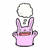 image of rabbit hole  - cute cartoon rabbit with thought bubble - JPG