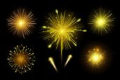 Bright Festive Colorful Fireworks Set. Vector Realistic Fireworks Illustration. New Year Christmas F poster